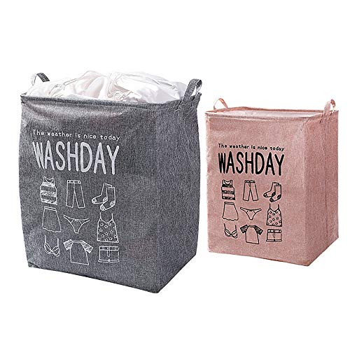 ZHIHQ 2 Pieces Collapsible Laundry Hamper, Laundry Baskets, Collapsible Waterproof Cotton Linen Foldable Laundry Hampers Household Organizer Baskets with Handles