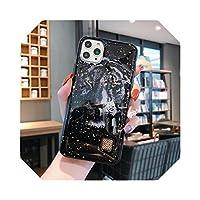 ゴールドリーフフラワー&リーフFor iPhone 12 11Pro Max XR X XS Max 7 8 Plus SE2020ソフトシリコン耐衝撃大理石カバー用電話ケース-T3-for 6 plus 6s plus