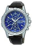 Seiko Mens solaire cadran bleu chronographe bracelet brun en cuir SSC141P2