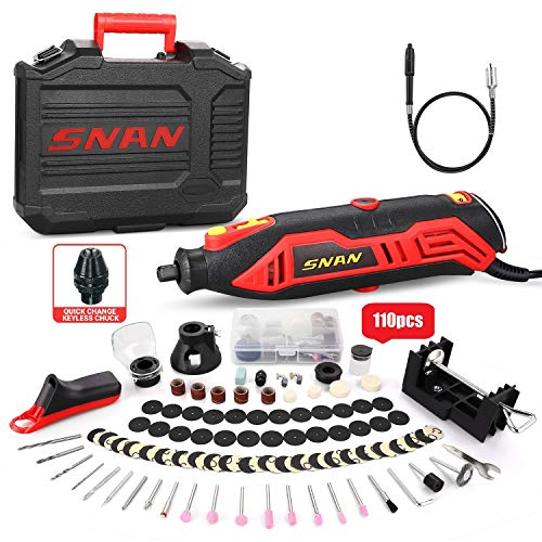 Rotary Tool Kit, SNAN Tool with MultiPro Keyless Chuck and Flex Shaft, 10000-35000RPM, 6 Variable Speed, 110 Accessories Ideal for Craft Projects, DIY Creations, Cutting, Engraving-SERTD02