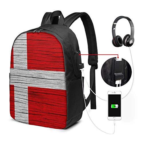 Textura de madera Bandera danesa Mochila impermeable para computadora portátil con puerto de carga USB Puerto para auriculares Se adapta a 17 pulgadas Mochilas para computadora portátil Mochila de via