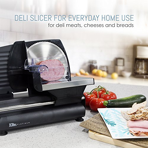 "Elite Platinum Ultimate Precision Electric Deli Food Meat Slicer Removable Stainless Steel Blade, Adjustable Thickness, Ideal for Cold Cuts, Hard Cheese, Vegetables & Bread, 7.5"", Black"