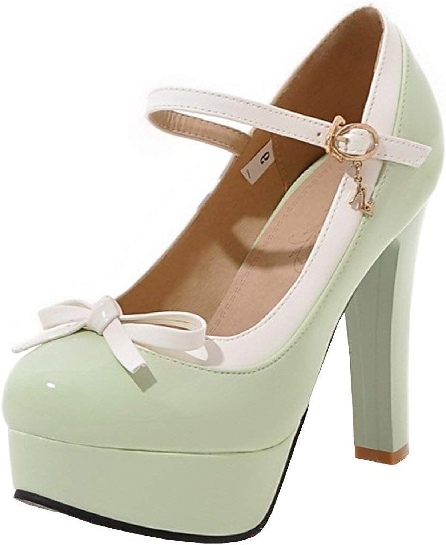 CHENSF Women's Ankle Strap Stiletto Heel Platform High Heel Party Pumps