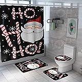 Alfombrillas de baño Navidad Baño Alfombra Cortina de Ducha de Santa Claus Antideslizante WC Tapa Cubierta de baño Alfombra de la Estera 4/3 / 1pcs Set-4pcs Alfombra de baño (Color : 4pcs)