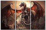 1art1 Dragones - Un Castillo Conquistado por Un Dragón, 3 Partes Cuadro, Lienzo Montado sobre Bastidor (120 x 80cm)