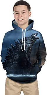 CHOICE99 Godzilla Hoodie for Children Monsters Boys 3D Print Hoodie Sweater Long Sleeve Hoodies