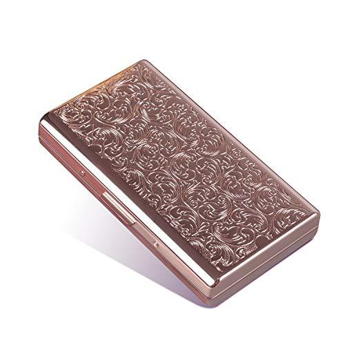 Metall-Zigarettenetui im Retro-Stil, doppelseitiger Federclip, offener Taschenhalter für 14 100 mm Zigaretten, Kreditkartenhalter, schützende Sicherheitshülle für Damen und Herren (Roségold)