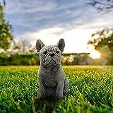 French Bulldog Statue Garden Decor, Realistic Adorable Concrete Puppy Dog Sculptures, Antique Stone Finish Creative Sculpture Figurines for Living Room Decor Patio Outdoor (French Bulldog)