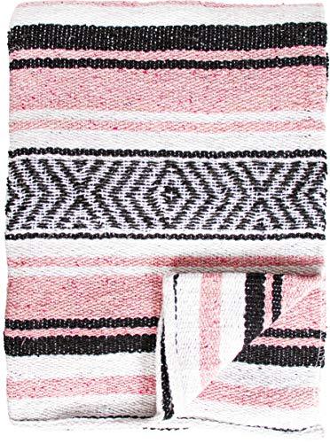 threads west Echte mexikanische handgewebte Decke, Premium-große schwere Falsa-Decke, Serape- & Yoga-Decke, Stranddecke, Überwurf, Picknickdecke (traditionell, rosa)