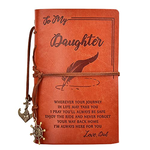 To My Daughter Classic Spiral Bound Leather Journal,Refillable,5″× 7″Writing Notebook Medieval Vintage Style 180 Page Travel Diary Art Sketchbook Gift for Girls,Blank Paper(From Dad to Daughter)