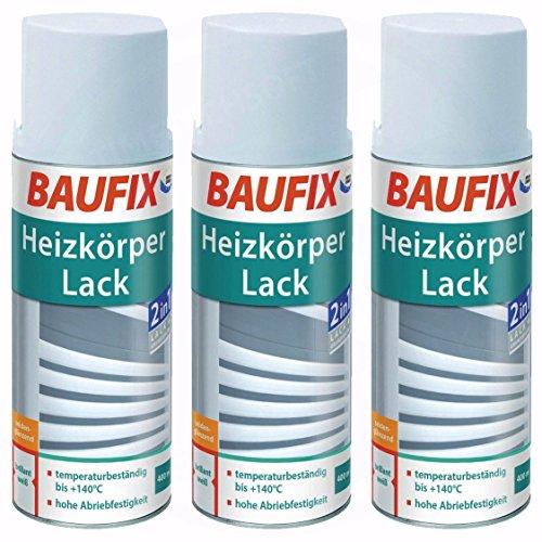 3 x Baufix Heizkörperlack 400 ml Heizung Lack Weiß Weiss