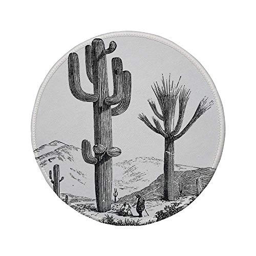 Alfombrilla de ratón Redonda de Goma Antideslizante decoración de Cactus impresión Dibujada a Mano incompleta de Plantas del Desierto con Imagen de viajeros Mexicanos Gris carbón 7.9'x7.9'x3MM
