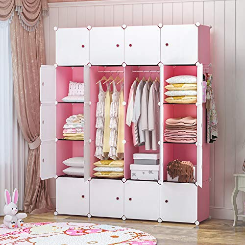GEORGE&DANIS Kids Shelf Portable Closet Wardrobe Dresser Armoire Plastic Storage Cube Organizer for Kids Teenagers, Pink, 14 inches Depth, 4x5 Tiers
