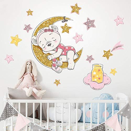 R00544 Adesivi Murali Soffice Effetto Tessuto Orsetta Decorazione Muro Bambino Neonato Nursery Cameretta Asilo Nido Carta da Parati Adesiva