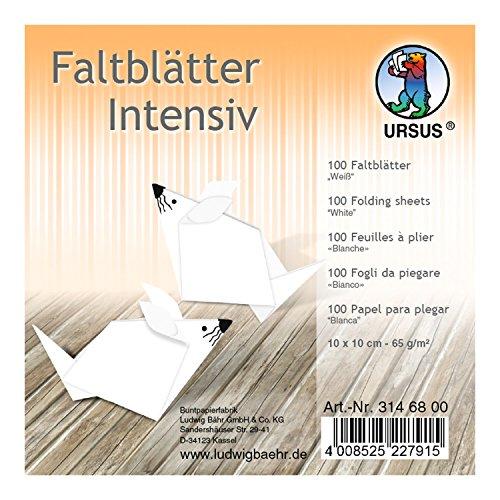 Ursus 3146800 Faltblätter Uni, 65 g/qm, ca. 10 x 10 cm, 100 Blatt, weiß