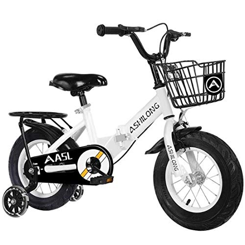 Kids Bike BMX Bike for Kids Boys Girls Bicycle Kids Bike,Foldable Steel Children Training Bicycle,Toddler Scooter Bike with Water Bottle Holder for 2-8 Years Old ( Color : White , Size : 18 inch )