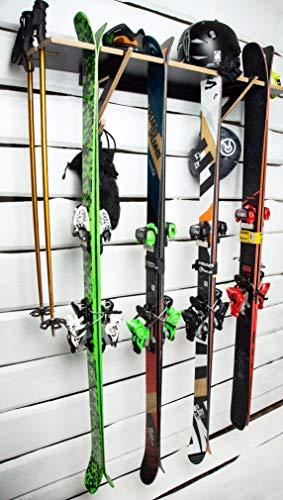 AKR ood Ski Rack Opslag Strore Uw Ski Mount op Muur Garage Indoor Outdoor Sport Ski Houten Skis Opslag Houdt Ski Pairs Kleur (Zwart)