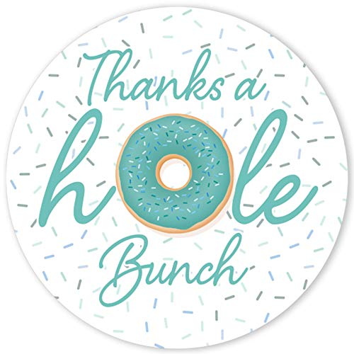Donut Baby Shower Thank You Stickers - 1.75 in - 40 Labels (Teal)