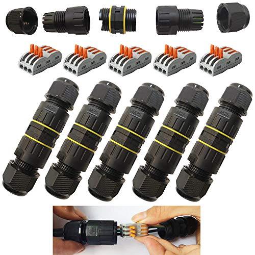 CESFONJER Boîte de Jonction de Plein Air IP68 Imperméable Connecteur de Câble électrique Boîtier de Raccordement 3 Voies Connecteurs Boîte pour Câble Ø 6 à 11mm (5 Pcs)