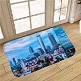 MinGz Cityscape Bathroom Rug Carpet, Non Slip Absorbent Super Cozy,Atlanta Skyline with Ferris Wheel,for Tub, Shower, Bath Room, Doorway,16x24 in