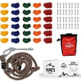 Duke's Outdoor Rock Climbing Holds Set for Kids - 30 Rock Climbing Wall Grips for Indoor & Outdoor Play Set, 8 Foot Knotted Climbing Rope, Chalk Bag & 3 DIY Videos,