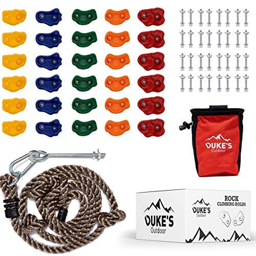 Duke's Outdoor Kletterhalter-Set für Kinder – 30 Kletter-Wandgriffe für drinnen und draußen, Spielset, 2,3 m geknotetes Kletterseil, Kreidetasche, Kreide und 3 DIY-Videos,