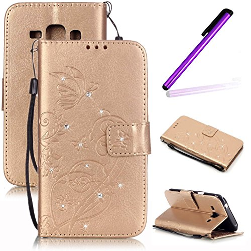 J5 2016 Case,Samsung Galaxy J5 2016 Case,LEECO Wallet PU Leather Protects Flip Skin Case with Magnetic Closure Impact Resistant Folio Cover for Samsung Galaxy J5 2016 (J510) Crystal Golden