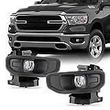 Fits 2019-2020 RAM 1500 [Halogen Type] Bumper Fog Lights Driving Lamp Pair Driver+Passenter w/Switch Bulb