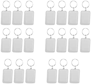 Supkeyer 20Pcs Oblong Blank Clear Acrylic Keyring Make Your Own Photo Keychain 38x25mm