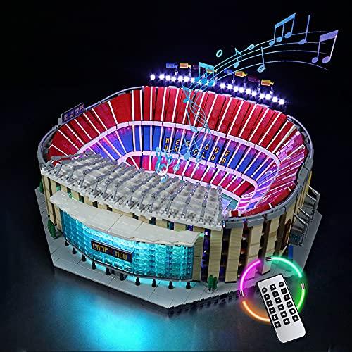 HYQX Kit de luces LED RC para Lego 10284 Camp Nou FC Barcelona Stadion, juego de iluminación de luces compatible con Lego 10284 (juego de luces LED solamente, sin kit de lego) (RC con sonido)