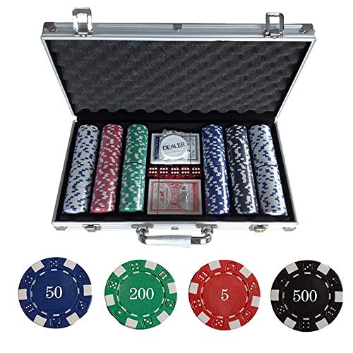 LGFB Blackjack-Sets 300 Stück Poker Chips Kartenspiel für Familie Freunde Sponsored Kasino, Spielwaren mit Aluminiumkoffer
