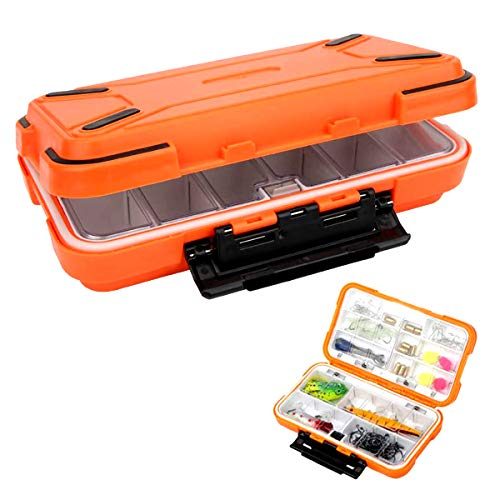 RoadLoo Tackle Box, Kunststoff Tackle Box Klar Haken fishingtackle Wasserdicht Sichtbar Hardbaits Haken Köderbehälter 16 Faecher wasserdichte Box für Kunstköder Köderbox Wobbler Angelköder (Orange)