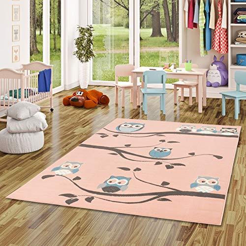 Pergamon Kinderteppich Trendline Eulen Pastell Rosa in 5 Größen