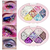 Ownest 14 Colors Glitter Eyeshadow Palette Set,Shiny Diamond Glitters Eyeshadow Sparkling Shimmer Eyeshadow Powder,for Party Festival Stage Makeup(2pcs)