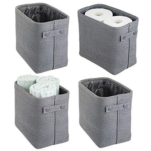 mDesign Juego de 4 cestas de tela con forro y diseño estructurado – Ideales como cestos para baño o como organizador de cosméticos – Práctico organizador de baño de algodón con asas – gris oscuro