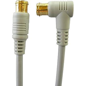 地デジ・BS・CS放送対応 アンテナケーブル 10m S4CFB 4C同軸ケーブル L型プラグとストレートプラグ/Z-100[バルク]