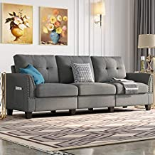 Belffin Modern Sofa Couch for Living Room Sofa Couch 3 Seater Fabric Grey