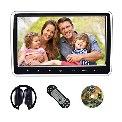 KWONGLUNG 10.1 Inch Ultra-thin Car Backseat Headrest Portable DVD Player with Headphones and HDMI Port/USB/SD Card Slot(108D)