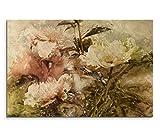 Paul Sinus Art 120x80cm Leinwandbild auf Keilrahmen Gemälde Wasserfarben Blumen Grunge Vintage Wandbild auf Leinwand als Panorama