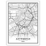Leinwand Bild,Belgien Antwerpen City Map Wall Art Schwarz