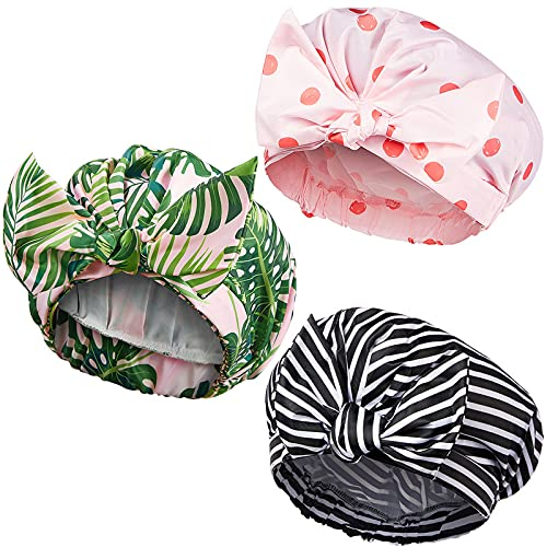 3 Pieces Shower Caps for Women, Waterproof Reusable Shower Hair Caps Elastic Hem Turban Shower Bath Caps for Long, Short and Curly Hair for Women Girls (Stripe, Coconut Palm and Polka Dot Pattern)