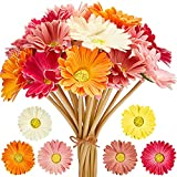 WILLBOND 18 Pieces Multicolor Daisies Bouquet Artificial Gerbera Flowers 15 Inch Fake Daisy Bridal Wedding Bouquet for Party Home Kitchen Wedding Decorations