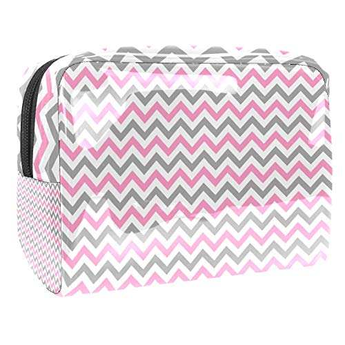 Light Gray Pink White Chevron Cosmetic Pouch Toiletry Bags Travel Business Handbag Waterproof