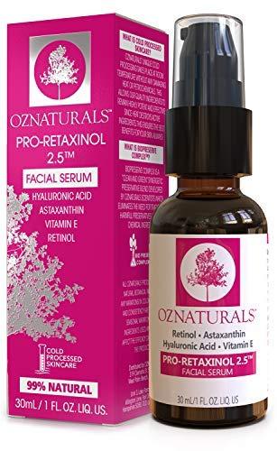 OZNaturals Anti Aging Retinol Serum: Pro-Retaxinol 2.5% Anti Wrinkle Serum for Face with Astaxanthin, Hyaluronic Acid & Vitamin E - Reduce Wrinkles, Fine Lines, Dark Spots, Acne, Sun Damage - 1 Fl Oz