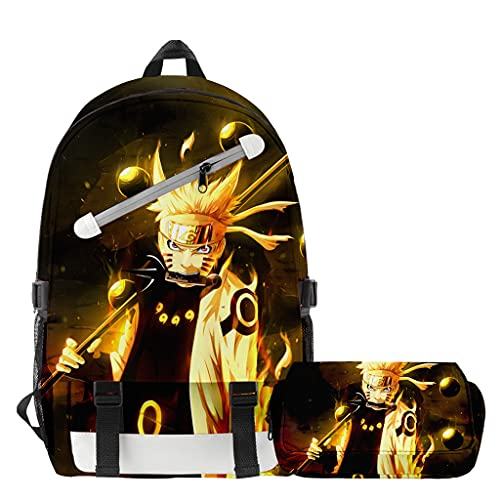 Mochila Anime Naruto, Grande Capacidad 3D Uchiha Sasuke Itachi Akatsuki Anime Cosplay Mochila Escolar+Estuche Harajuku Estudiante Bolso de Escuela Backpack para Portátil Viajes (N)