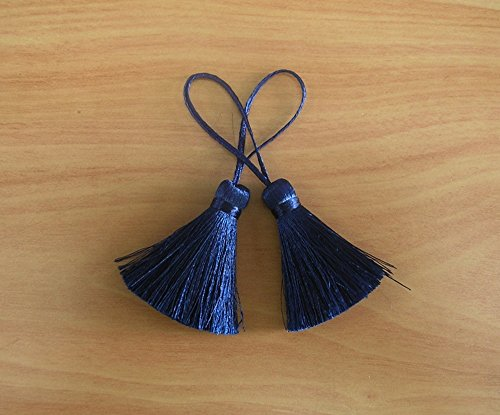 Navy Blue Tassel Silk Dangling Trim Fringe Jewelry Making Supply Pillow Case Sewing 2 Pieces