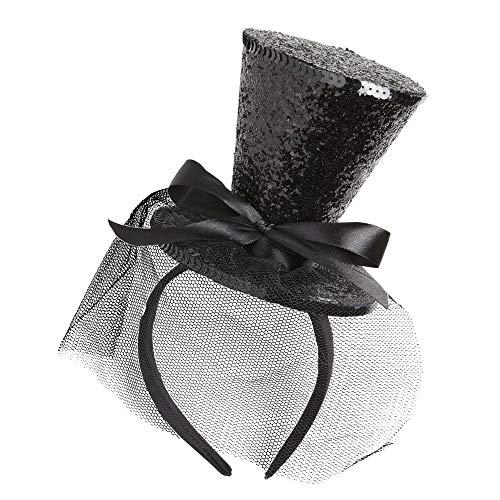 Widmann 0066F – Glitter Minizylinder auf Haarreifen, mit Schleier und Schleife, schwarz, Kopfbedeckung, Minihut, Accessoire, Zubehör, Motto Party, Karneval