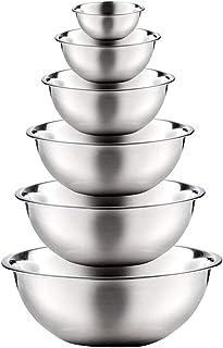 KINTRADE 6 Piezas Cuencos de Mezcla de Acero Inoxidable Acabado Espejo Pulido Ollas de anidación Limpieza de Cocina Suministros de Cocina multifuncionales