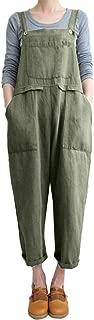 Drindf Women's Loose Linen Wide Leg Jumpsuit Rompers Bib Long Suspender Overalls Harem Pants Plus Size S-5XL