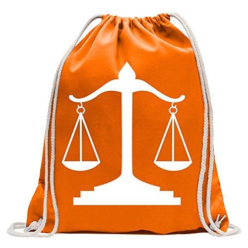 Kiwistar Waage Gericht Anwalt Justitia Turnbeutel Fun Rucksack Sport Beutel Gymsack Baumwolle mit Ziehgurt